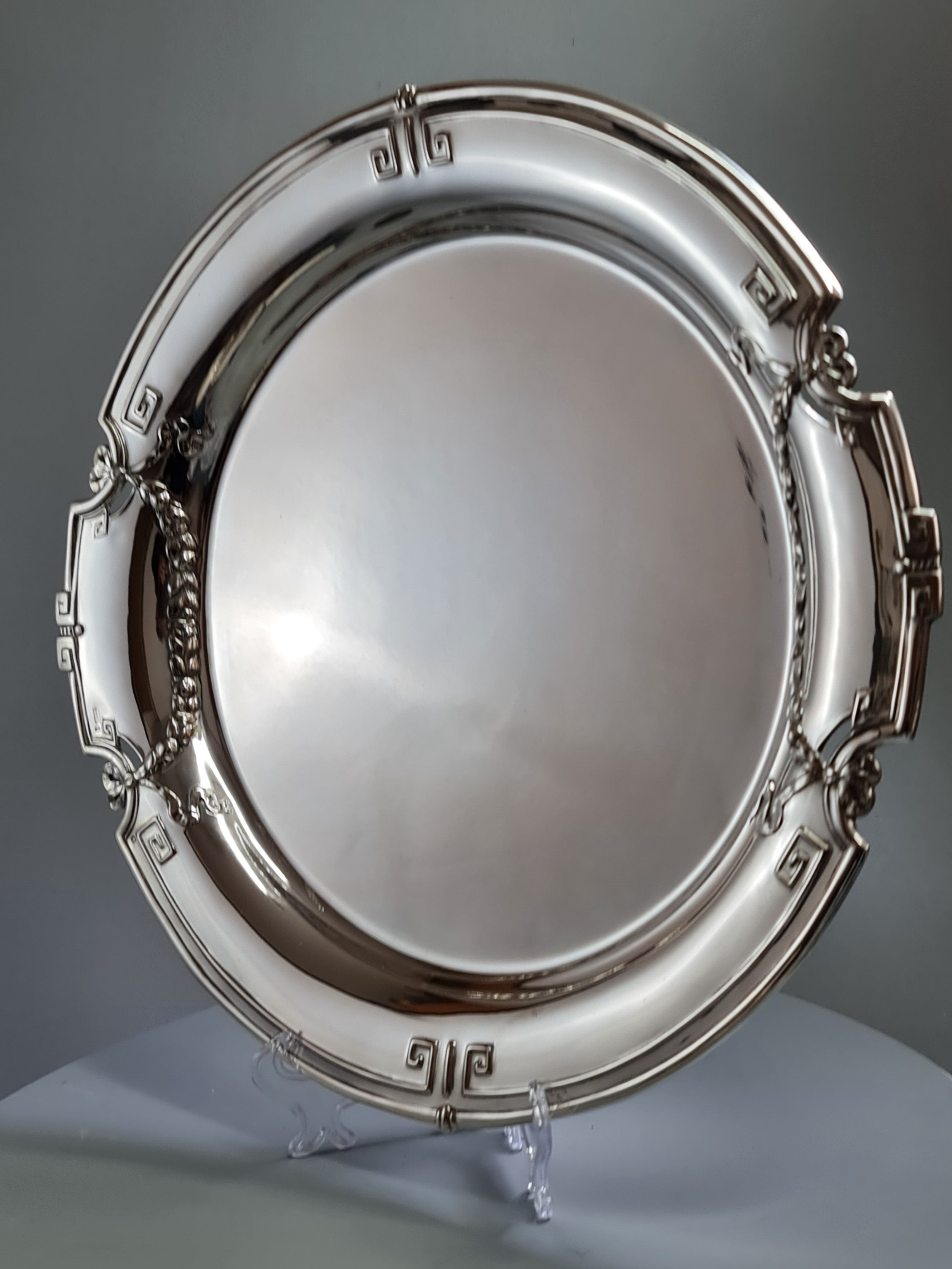 exceptional quality large 37cm secessionist silver tray signed 'singer' c1900