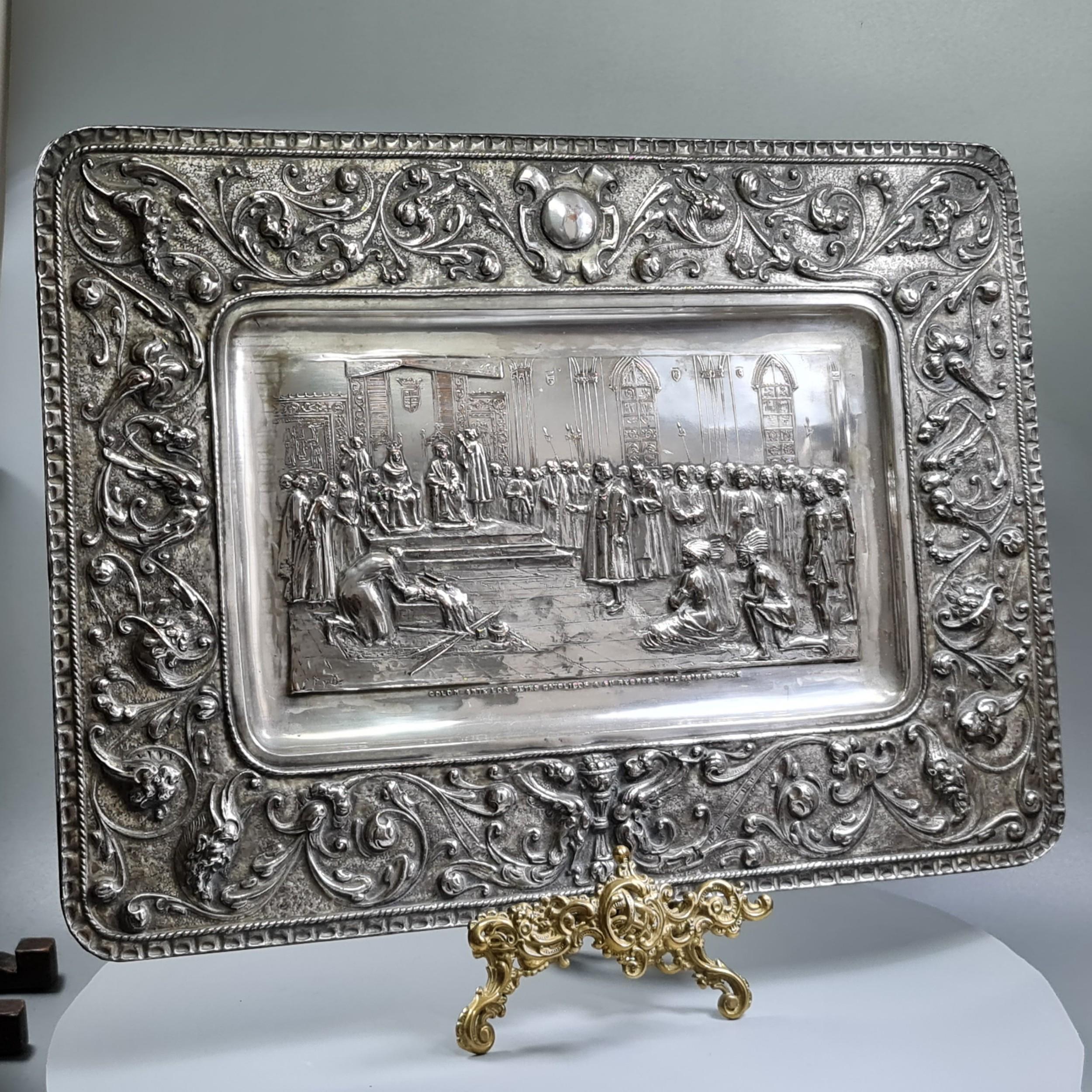 stunning large 19thc sp on copper plaque commemorating columbus return