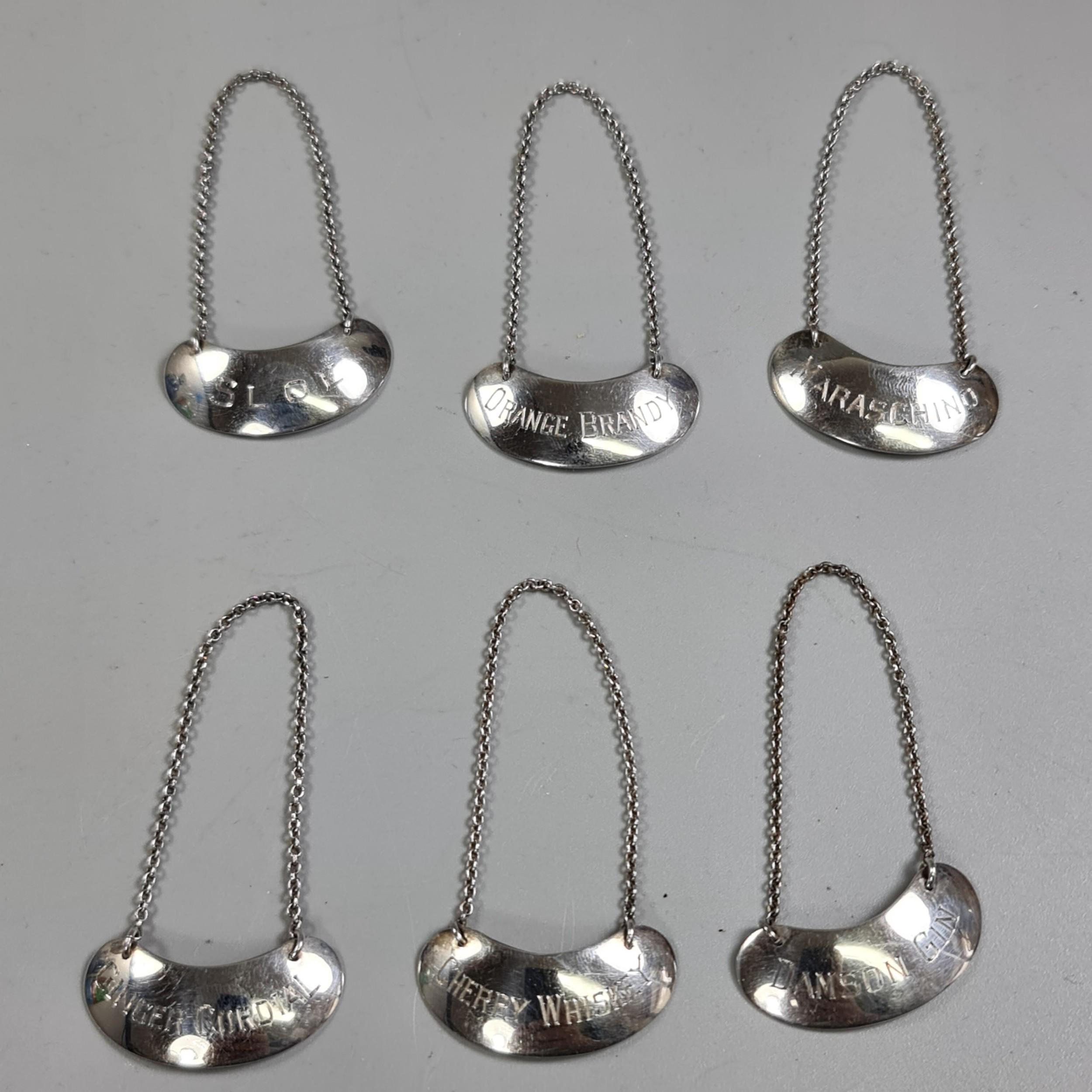 fabulous antique hm silver set of six decanter labels birm 1915