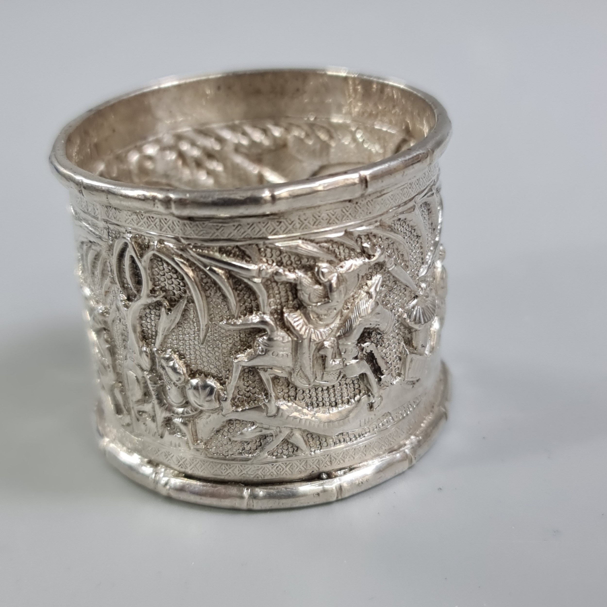 profusely decorated large antique oriental silver napkin ring c1900