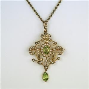 art nouveau 9ct gold peridot pearl antique pendant brooch 15ct chain circa1910