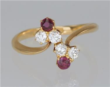 antique 18 ct gold ruby old cut diamond late victorian dress ring