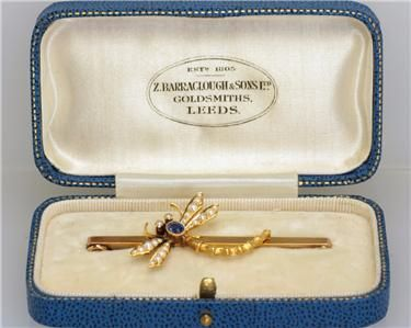 victorian dragonfly pearl sapphire 9ct gold antique insect brooch ca 1900