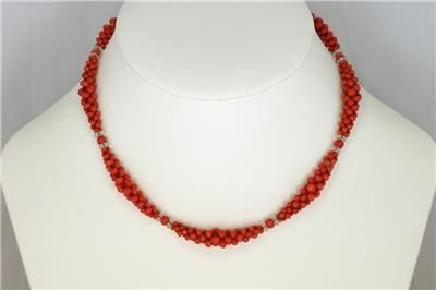 antique natural coral authentic edwardian necklace woven coral crystal circa 1910