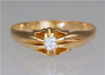 antique solitaire 18ct gold old cut diamond gent's women's vintage ring size w hallmarked london 1918