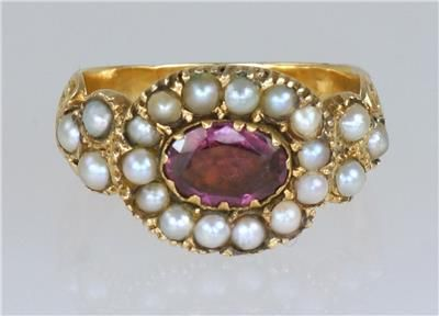georgian 15ct gold pearl pink sapphire ornate antique english ring ca 1800