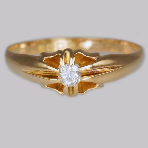 antique solitaire 18ct gold old cut diamond men's women's ring london 1918 size w