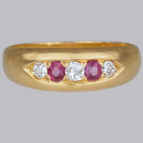 victorian ruby old cut diamond gypsy ring antique 18ct gold ring hallmarked chester 1884