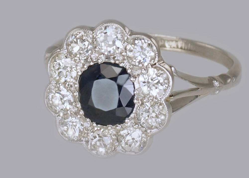 sapphire 150ct old cut diamond platinum edwardian ring antique english cluster ring