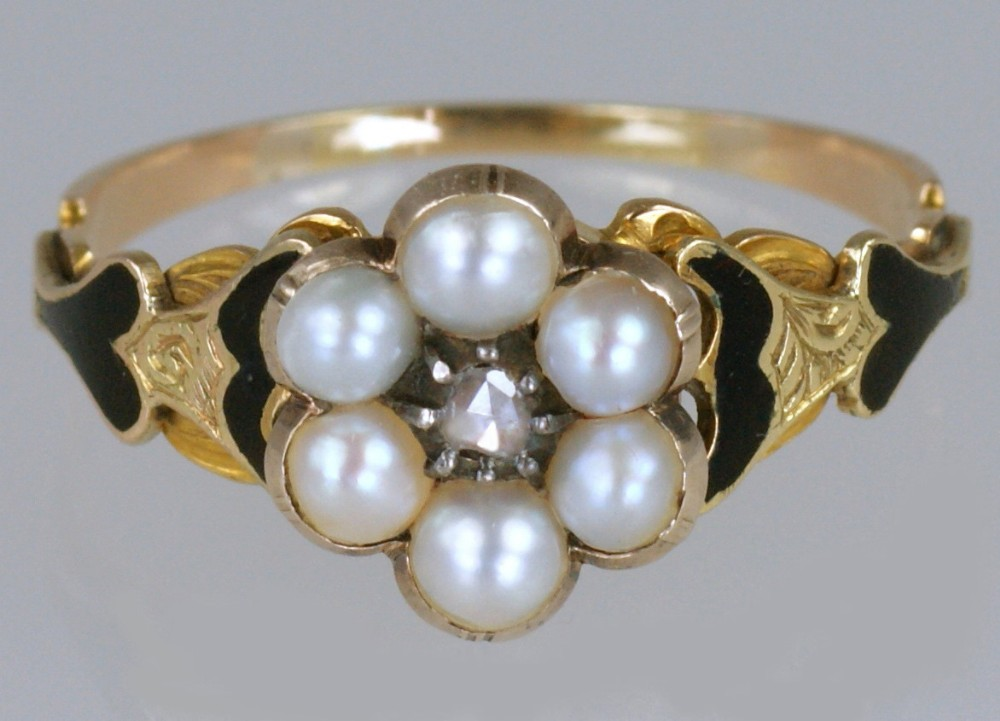 georgian memorial ring diamond pearl black enamel 18ct gold antique ring circa 1830 estate ring