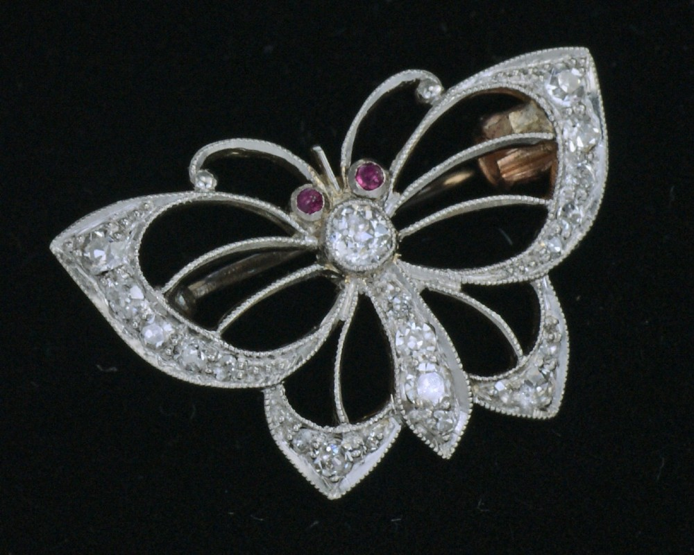 edwardian platinum old cut diamond ruby antique butterfly brooch circa 1910