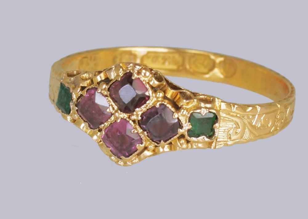 victorian 15ct gold garnet emerald antique english ring hallmarked birmingham 1869