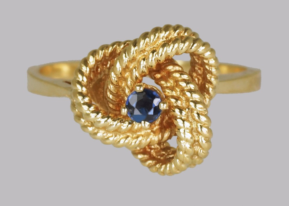 vintage tiffany co18ct gold blue sapphire ring rare tiffany woven knot ring