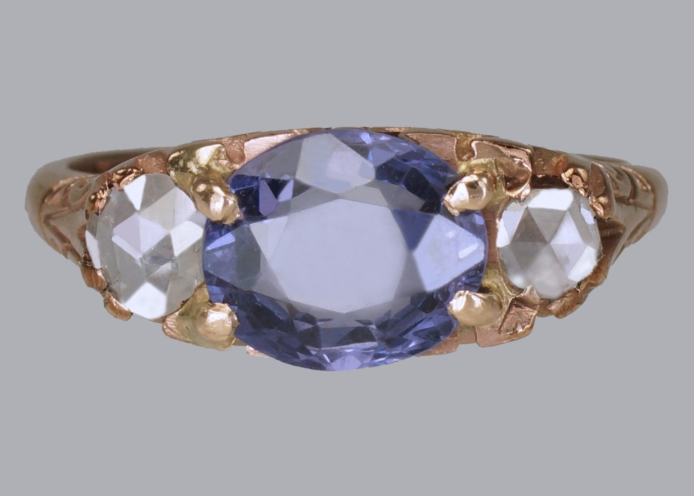 victorian 2ct sapphire rose cut diamond 15ct gold antique trilogy ring circa 1890