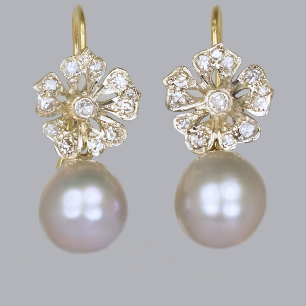edwardian pearl swiss cut diamond drop 18ct gold antique dangle earrings circa 1910