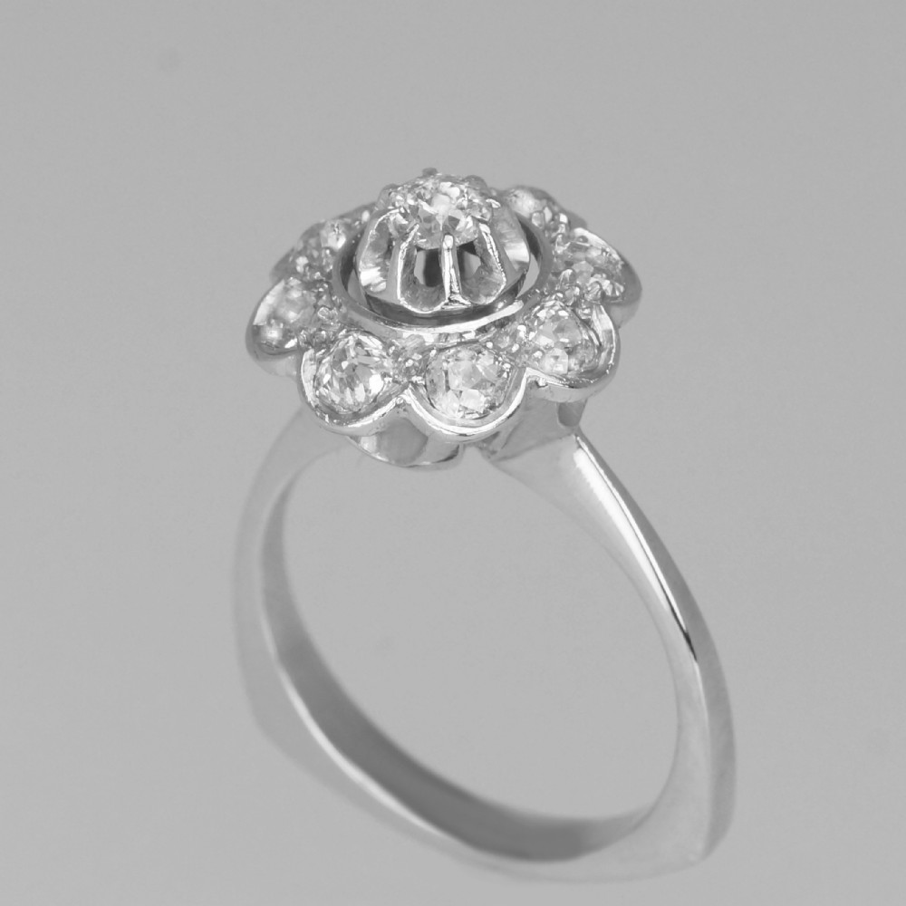 retro 18ct gold old cut diamond french art deco cluster ring