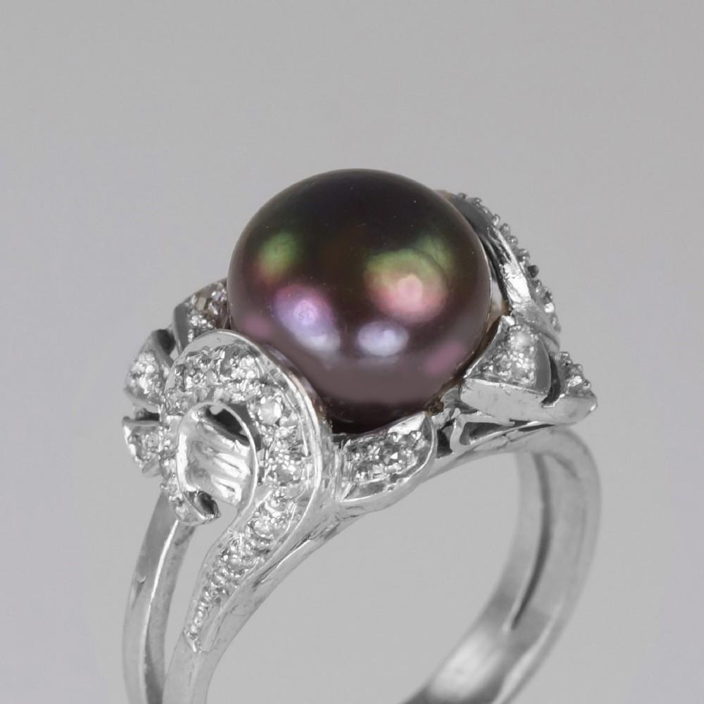 tahitian pearl diamond ring 18ct gold 1960's black pearl cocktail ring