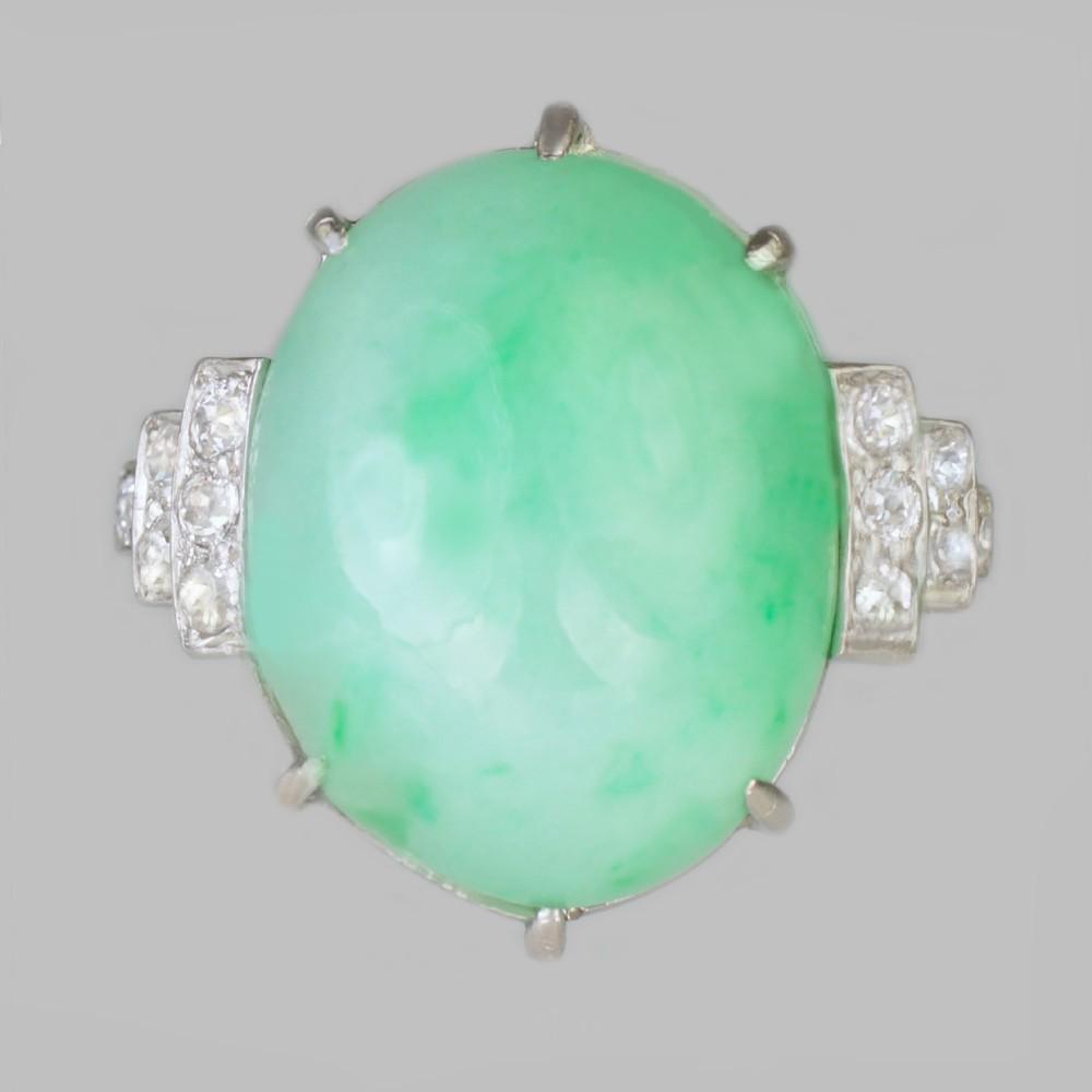 jade diamond art deco platinum ring 1920's 15ct natural jade ring gem report