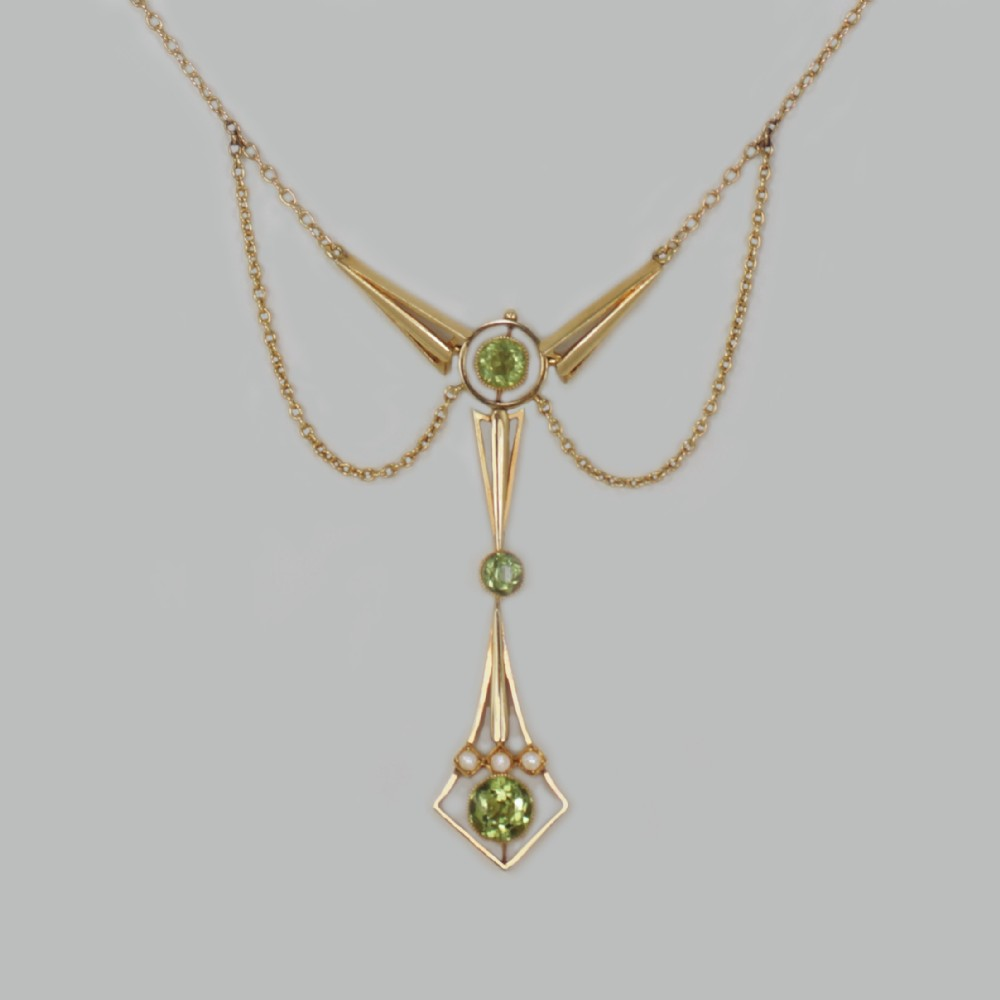 art deco peridot pearl necklace 15ct gold antique edwardian necklace circa 1915