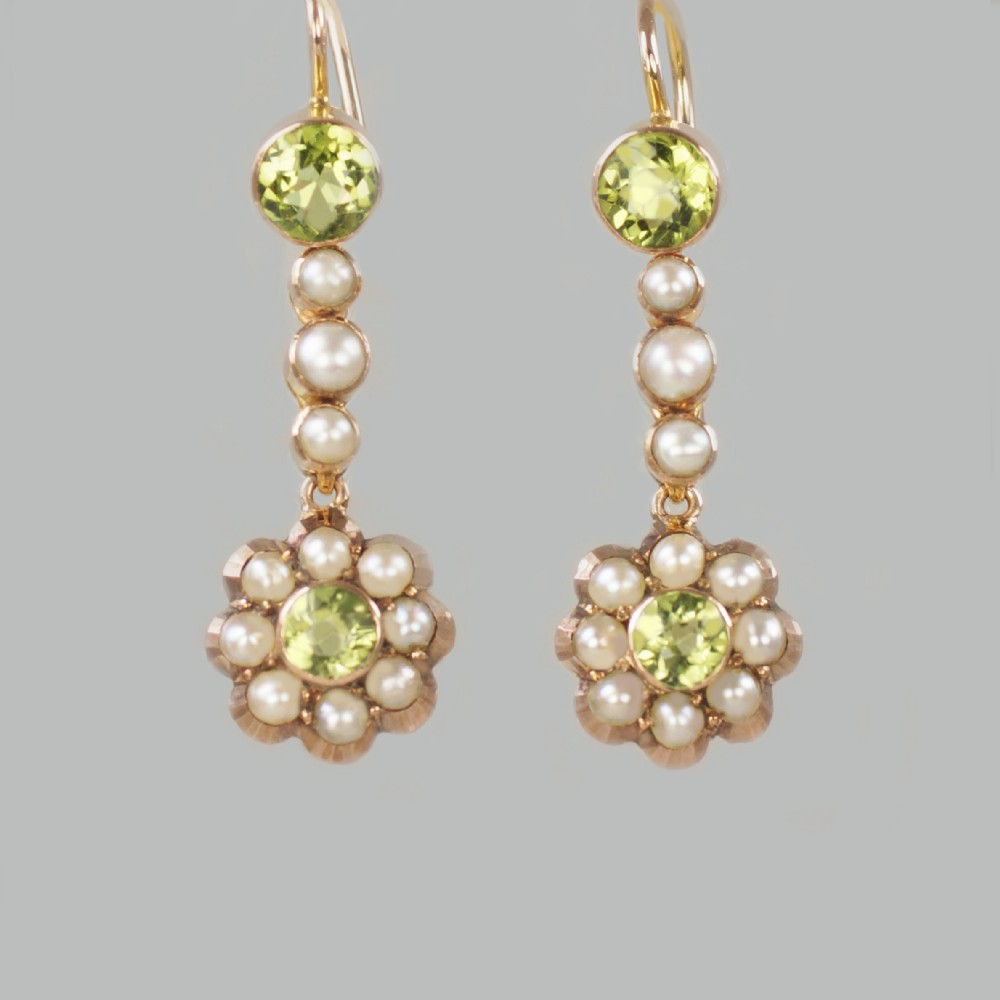 victorian peridot seed pearl dangle earrings 9ct gold antique drop earrings circa 1890