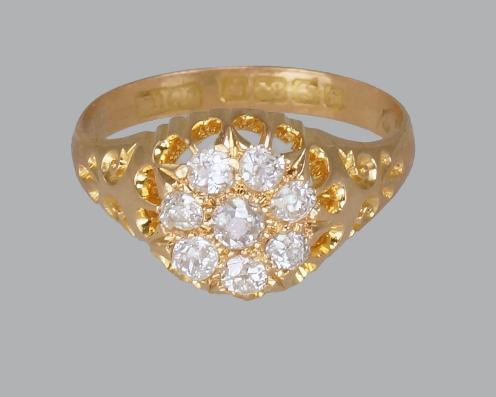 antique old mine cut diamond cluster ring 18ct gold edwardian ring hallmarked birmingham 1906