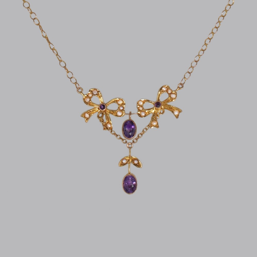 belle epoque seed pearl amethyst antique 15ct gold edwardian necklace ca1910
