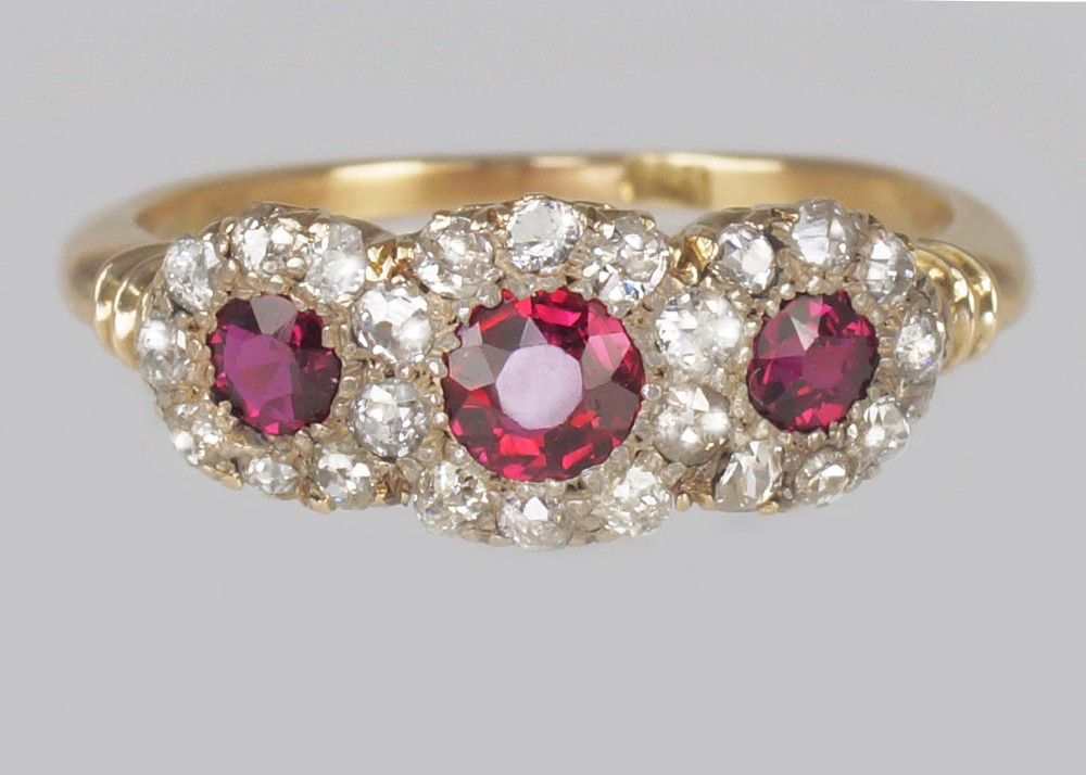 victorian ruby diamond triple cluster antique18ct gold ring ca 1850