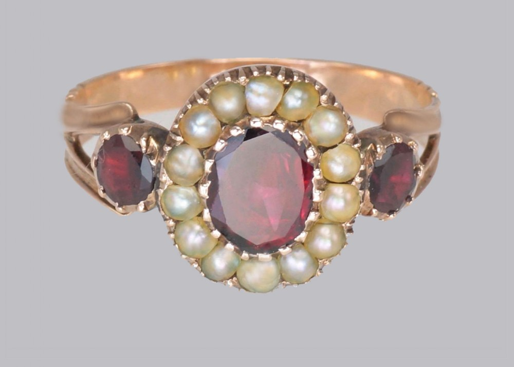 georgian garnet natural pearl ring 15ct rose gold antique ring circa 1820