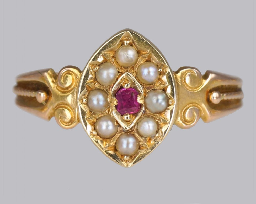 ntique 15ct gold ruby pearl ring victorian marquise shaped english ring circa 1870