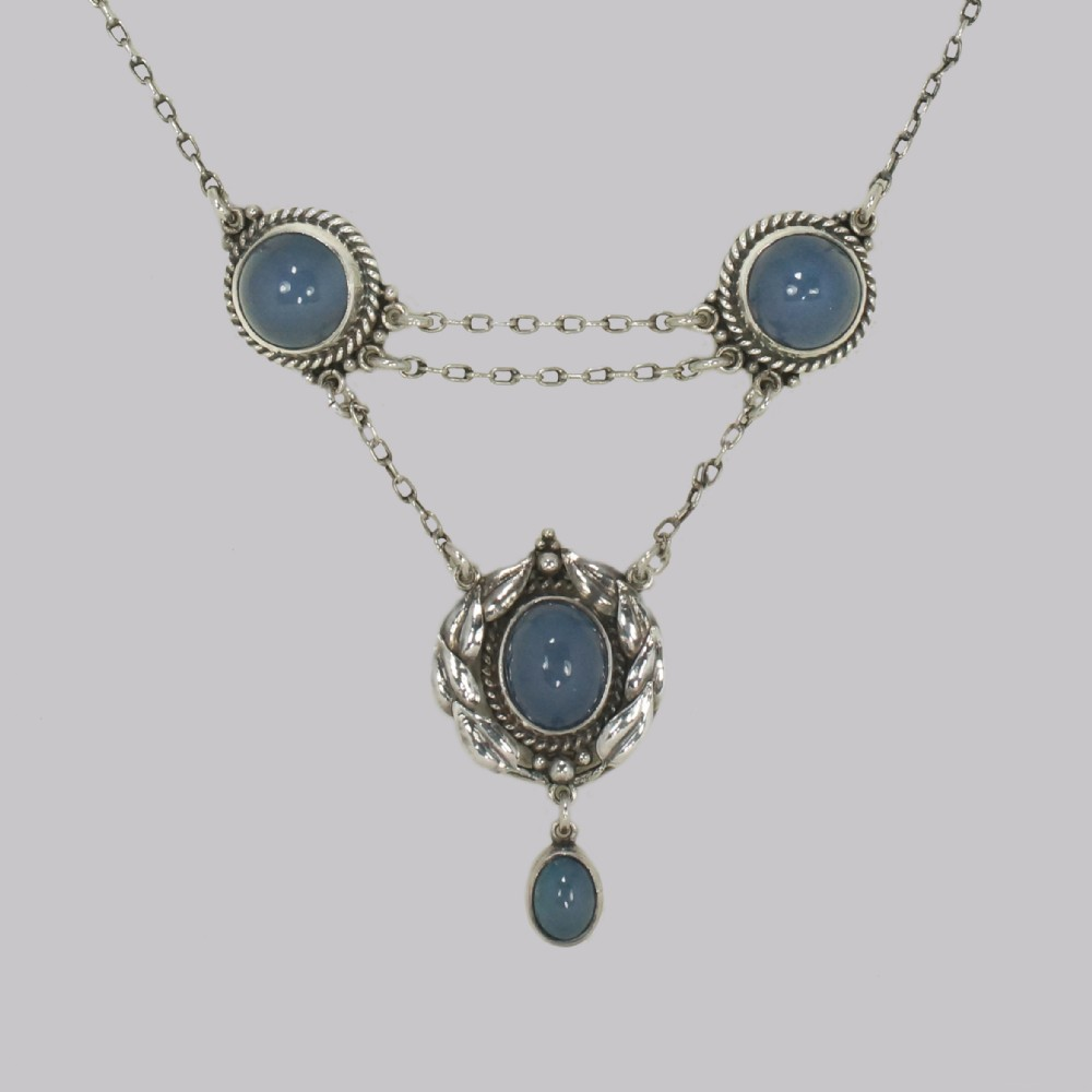 arts craft chalcedony necklace silver edith stewart victorian pendant circa 1900