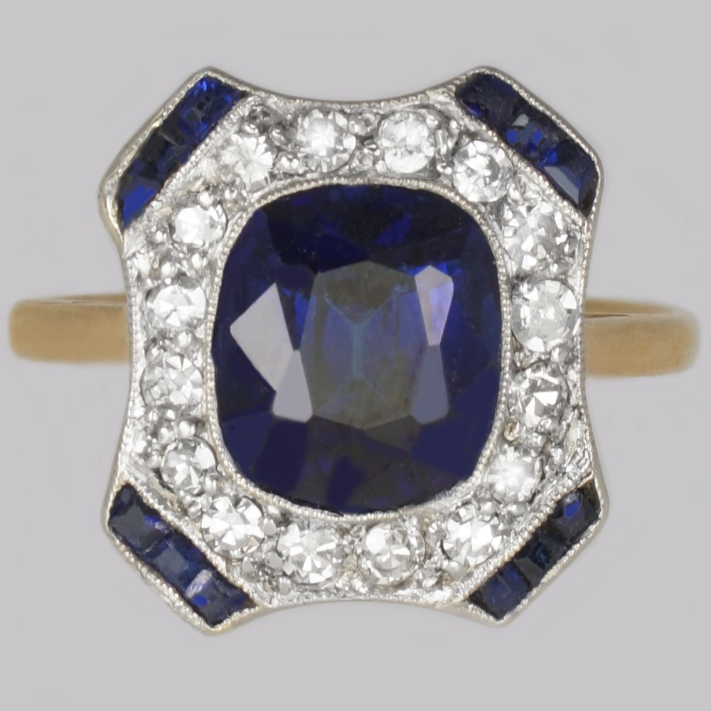 art deco sapphire diamond ringfrench 1920s 18ct gold antique cluster ring