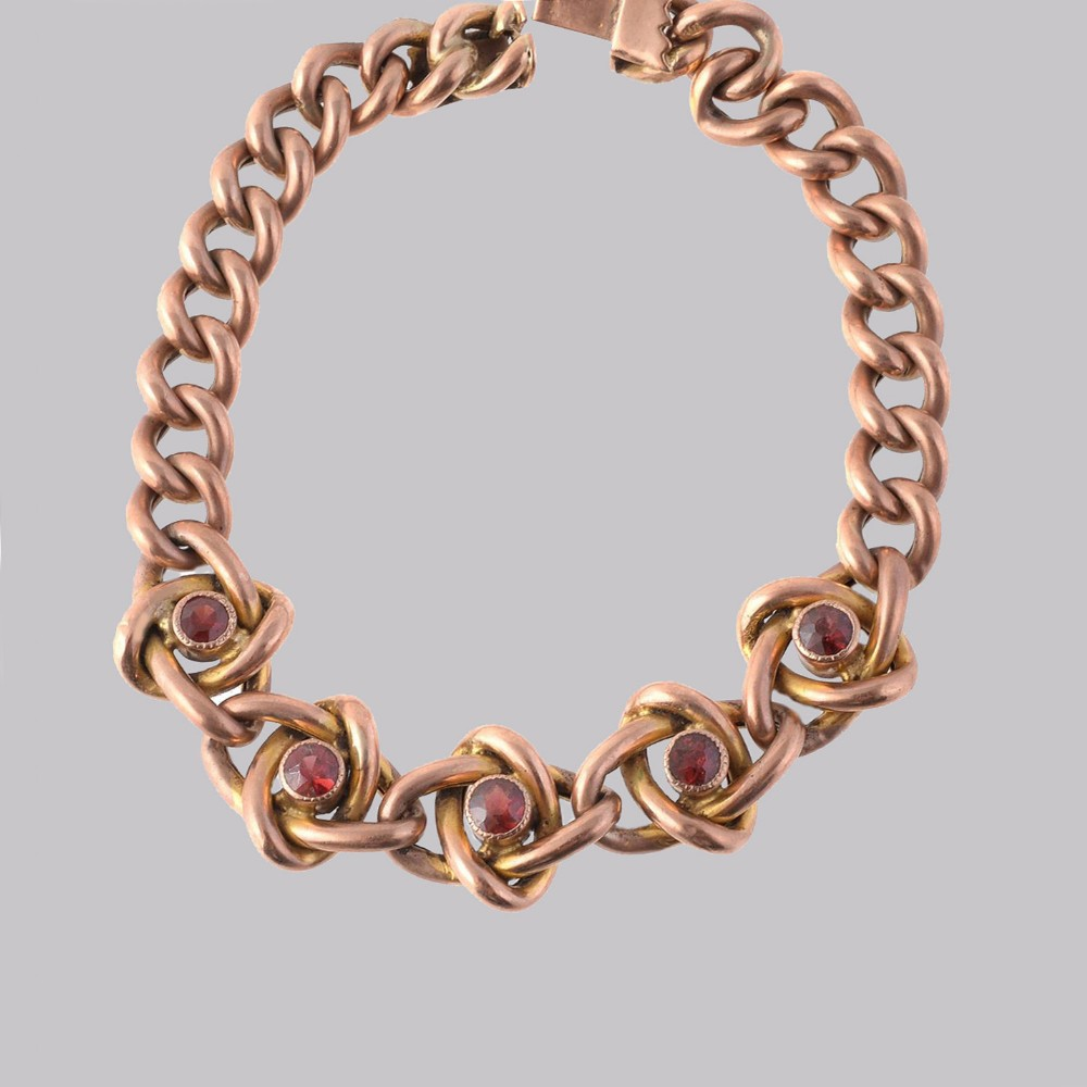 victorian garnet knot curb link 9ct gold bracelet with antique box circa 1890