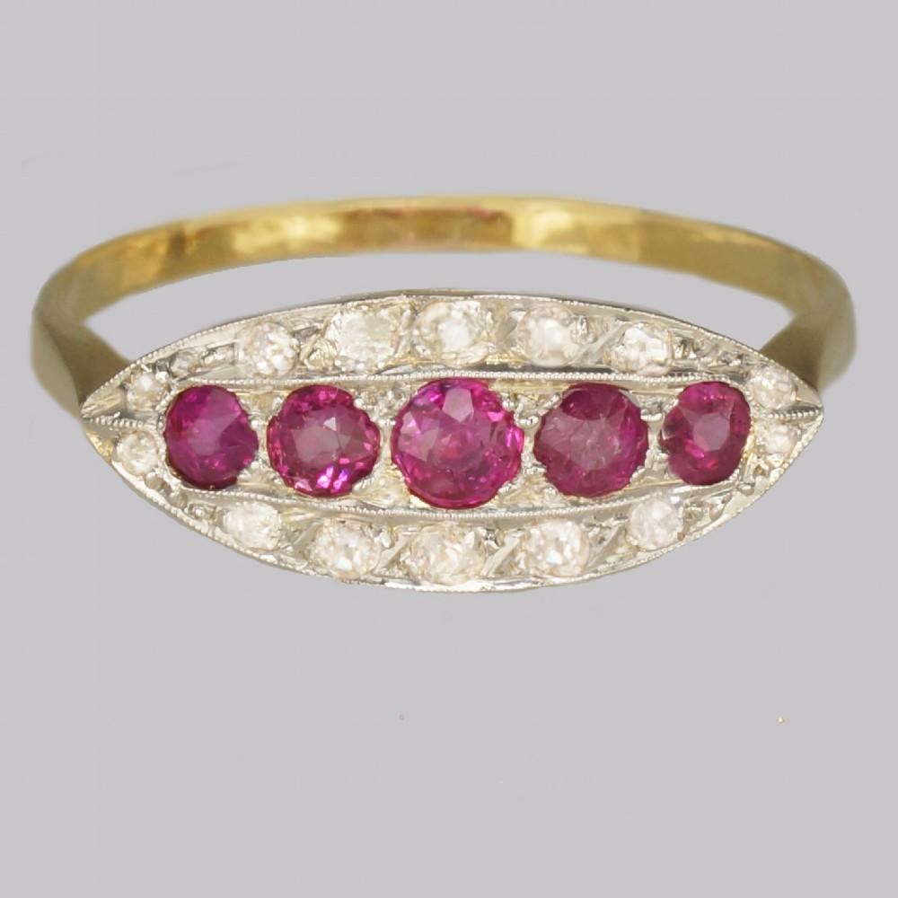 antique ruby old cut diamond ring 18ct gold edwardian art deco ring circa 1910
