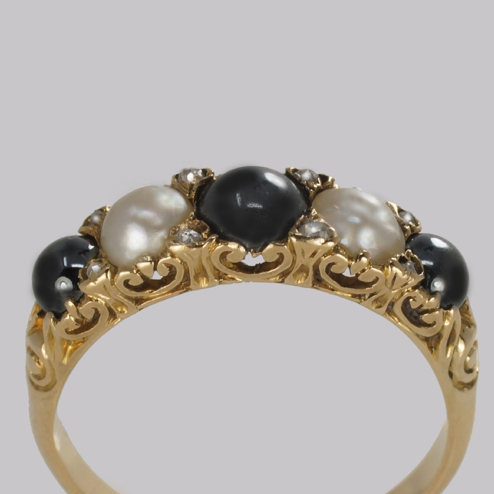 antique tahitian white pearl ring 18ct gold rose cut diamond victorian ring