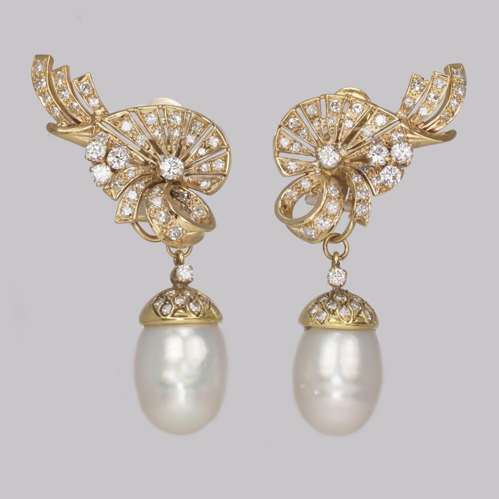 vintage diamond pearl drop earrings 1950s 18ct gold 35 carat diamond earrings
