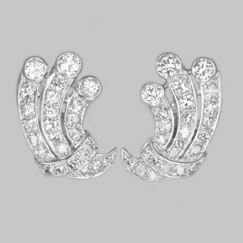 art deco 180ct diamond earrings 18ct white gold antique earrings with post fittings circa 1920