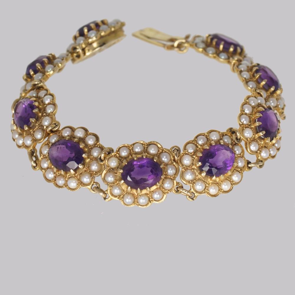 victorian amethyst seed pearl bracelet 9ct gold antique bracelet circa 1890