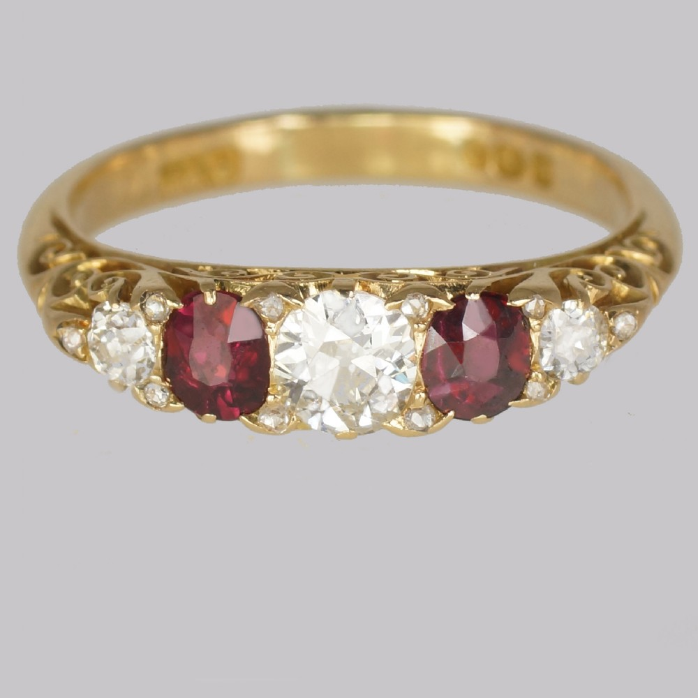 victorian diamond ruby ring 18ct gold five stone antique ring hallmarked 1897