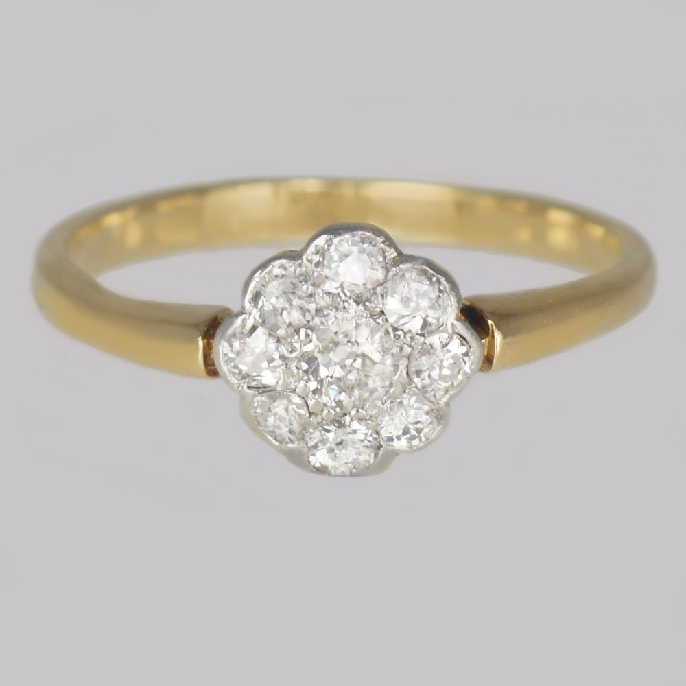 antique old cut diamond cluster ring 18ct gold vintage daisy ring circa 1920 1930s