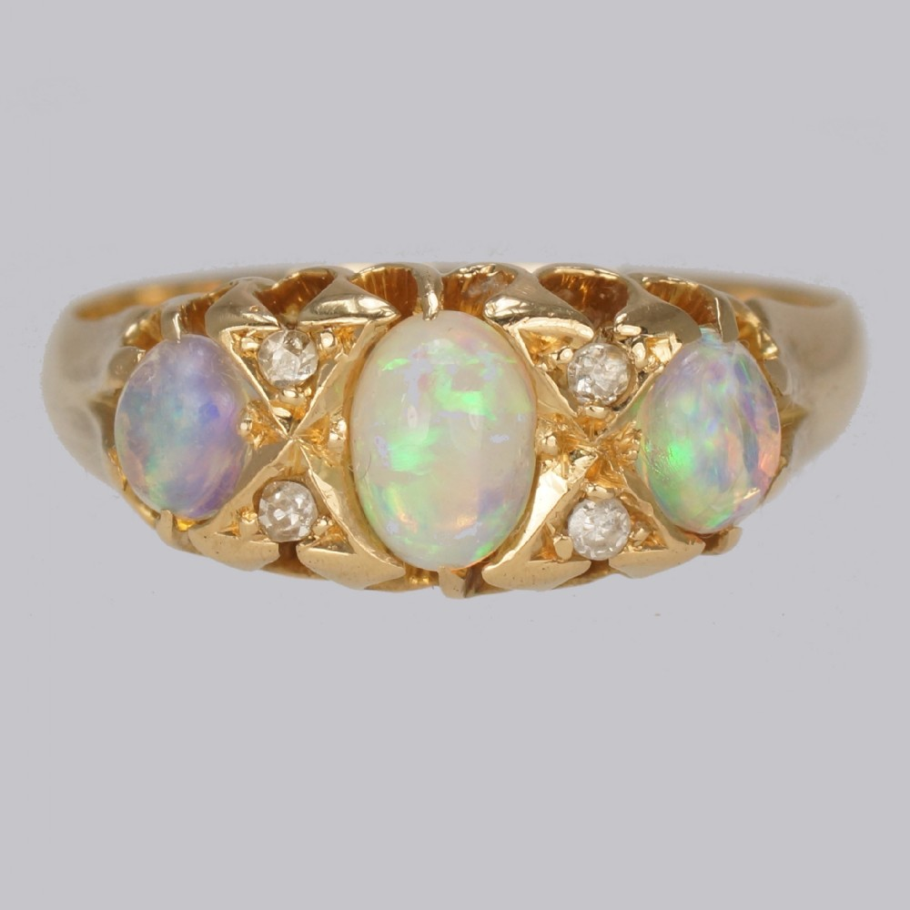victorian opal old cut diamond ring 18ct gold antique trilogy ring circa 1890