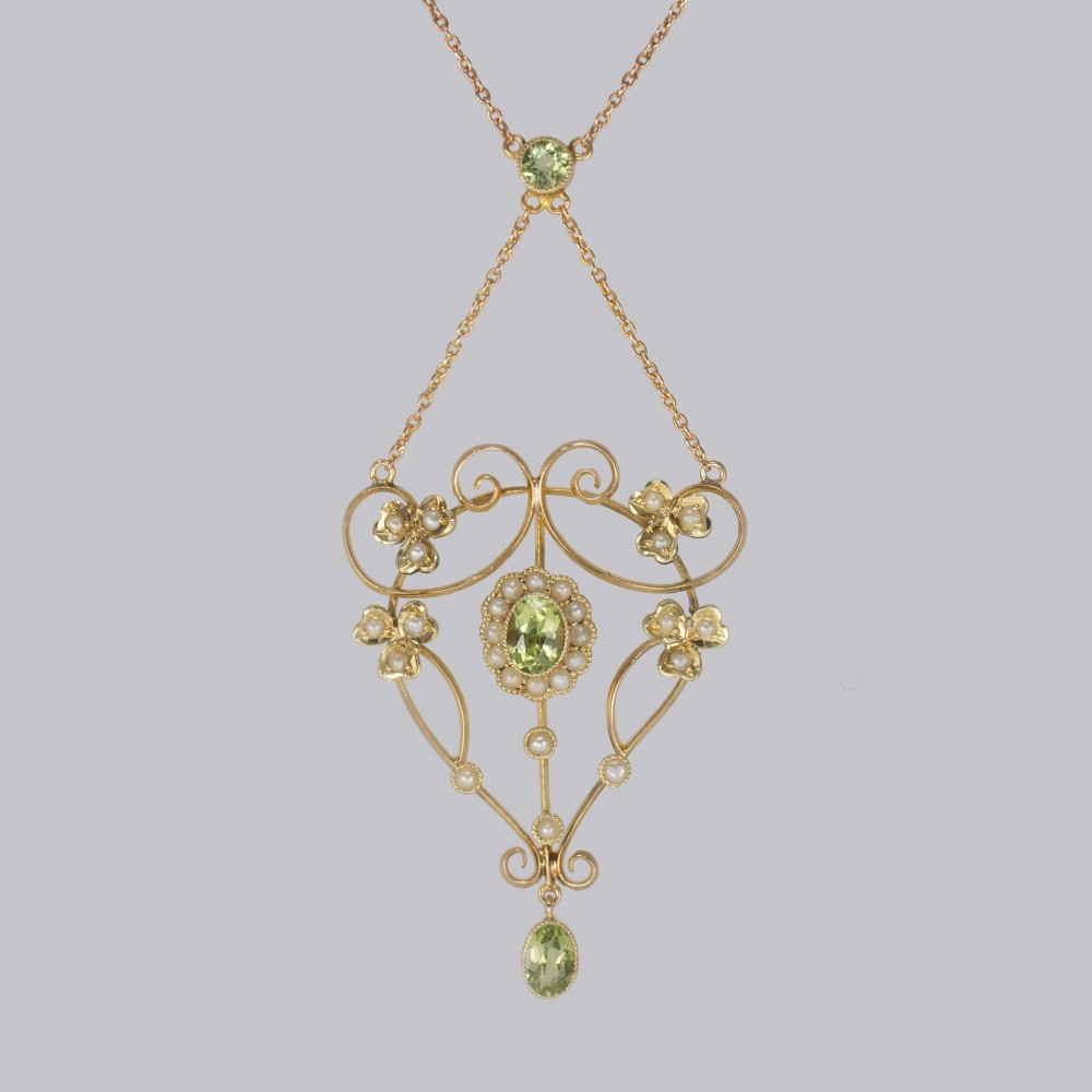 edwardian peridot seed pearl necklace antique 9ct gold floral scroll necklace