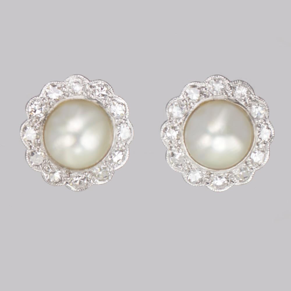 vintage pearl diamond cluster earrings 18ct gold 1940s earrings post fittings