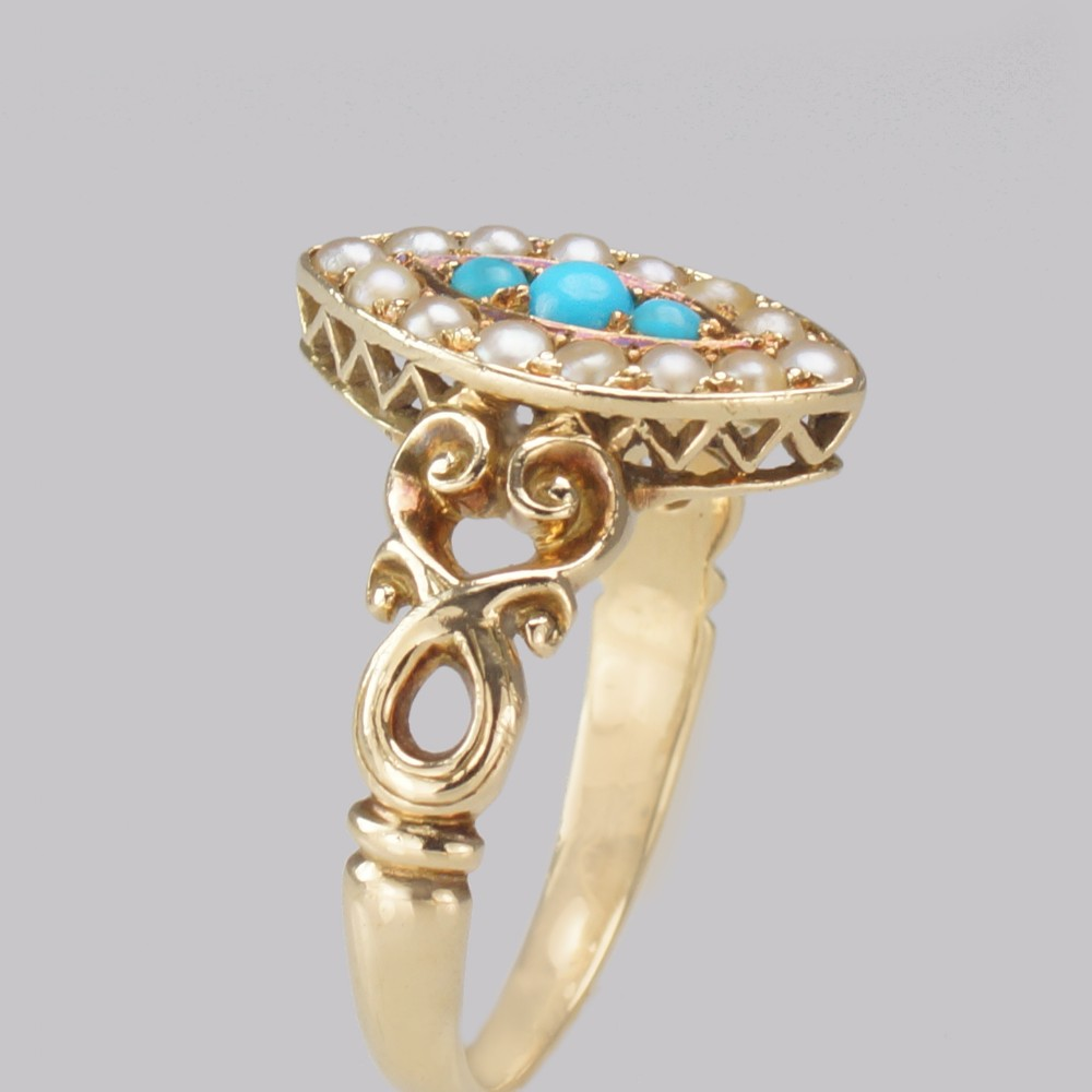antique turquoise pearl ring 18ct gold victorian navette shaped ring circa 1890