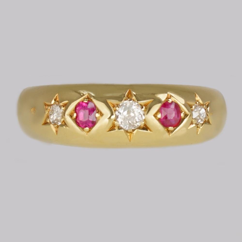 victorian diamond ruby gypsy ring antique 18ct gold hallmarked london 1888