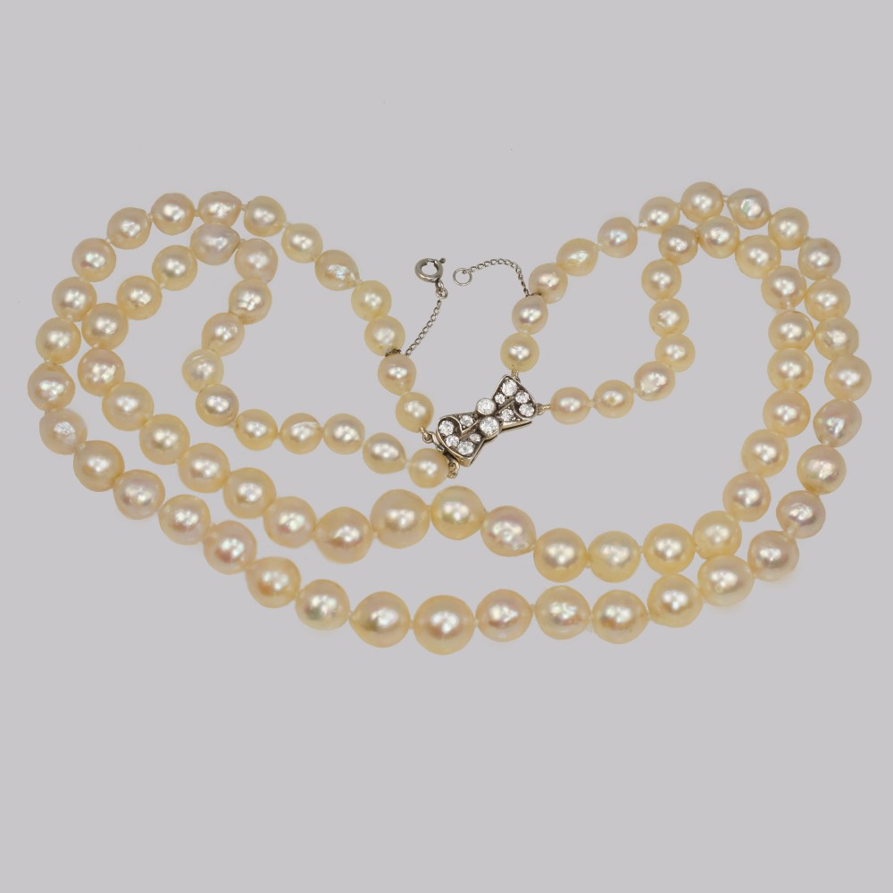 vintage pearl necklace with 9ct gold diamant bow clasp two strand 15 necklace just restrung