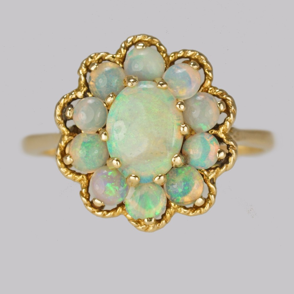 vintage opal cluster ring 14ct gold 1960s rope work victorian style opal ring