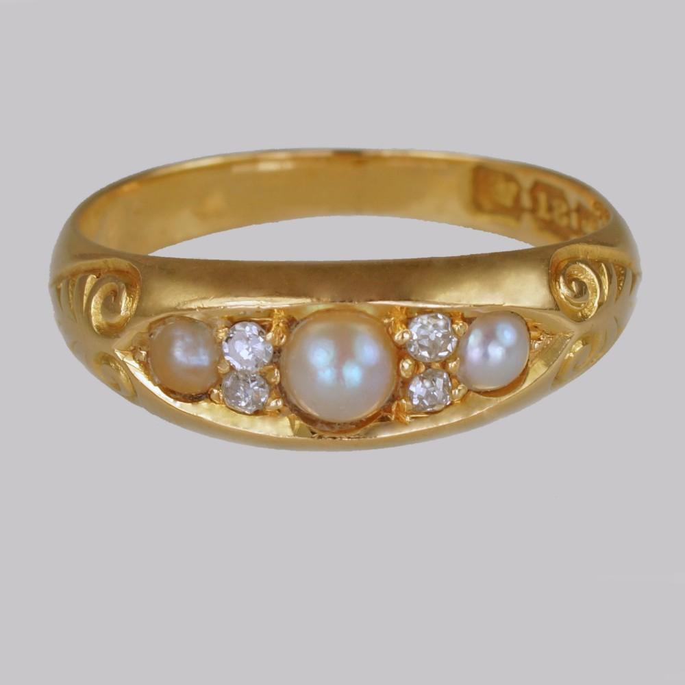 victorian pearl old cut diamond 18ct gold antique boat ring birmingham 1894