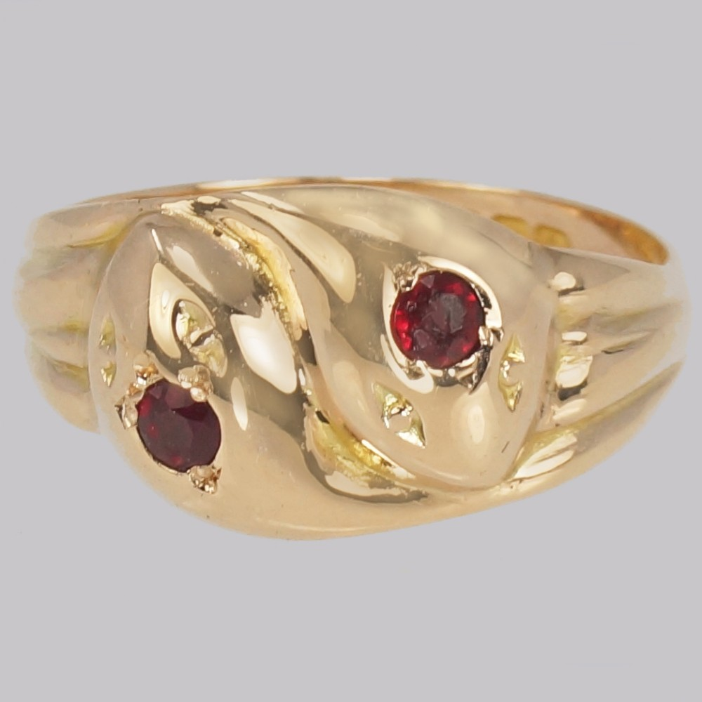 antique double ruby snake ring 9ct gold vintage serpent ring s12 hallmarked birmingham 1918