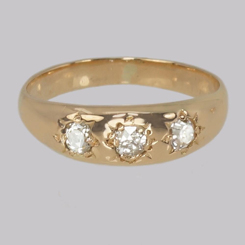 antique diamond trilogy ring 18ct gold edwardian three stone diamond gypsy ring