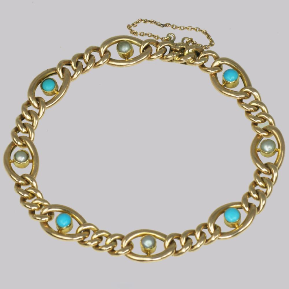 antique 15ct gold turquoise pearl curb link bracelet victorian bracelet circa 1880
